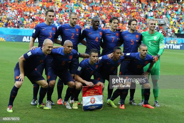 The Netherlands team line up prior to the 2014 FIFA World Cup Brazil Group B match between Spain and the Netherlands at Arena Fonte Nova on June 13...