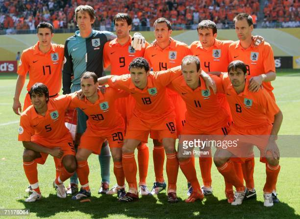 The Netherlands team line up prior to the FIFA World Cup Germany 2006 Group C match between Serbia and Montenegro and Netherlands played at the...