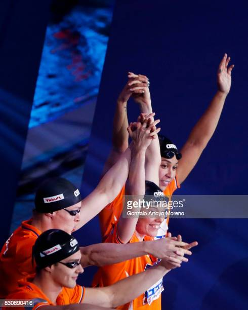 The Netherland«s team Ranomi Kromowidjojo Femke Heemskerk Jesse Puts and Thom De Boer waves the audience prior to start the Mixed 4x50m Freestyle...