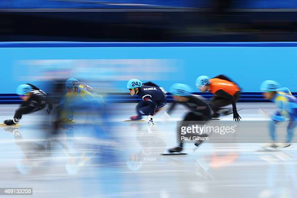 The Netherlands the United States South Korea and Kazakhstan compete in the Short Track Speed Skating Men's 5000m Relay Semifinal on day 6 of the...