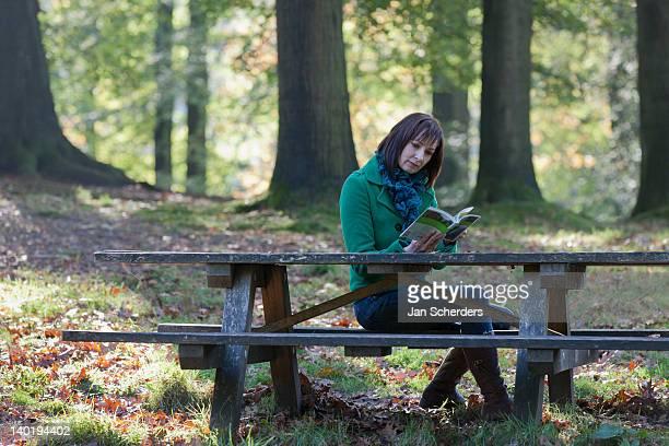 the netherlands, veluwezoom, posbank, woman reading book in park - posbank ストックフォトと画像