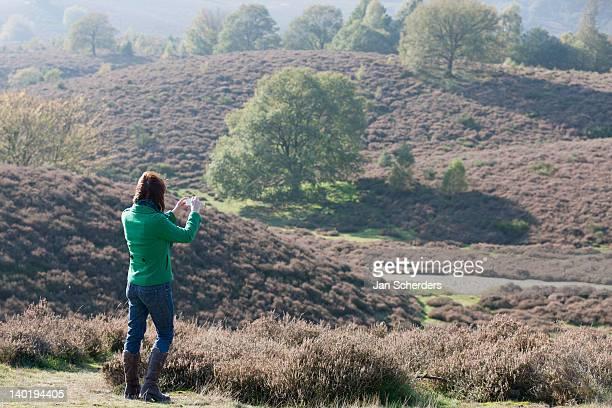 the netherlands, veluwezoom, posbank, woman using camera in countryside - posbank ストックフォトと画像