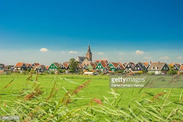 The Netherlands. View of a green meadow and Marken town. Traditional dutch houses
