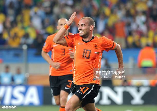 The Netherlands' Wesley Sneijder celebrates scoring his side's second goal of the game