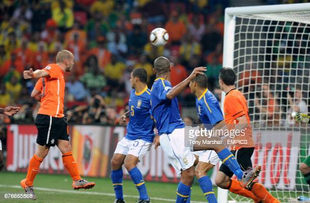 The Netherland's Wesley Sneijder scores his side's second goal of the game