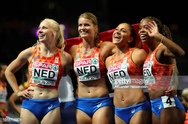 The Netherlands Women's team celebrate winning the Silver medal in the Women's 4x100m Final during day six of the 24th European Athletics...