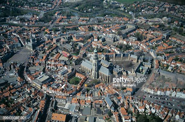 the netherlands, zeeland, middelburg, aerial view - middelburg netherlands stock pictures, royalty-free photos & images