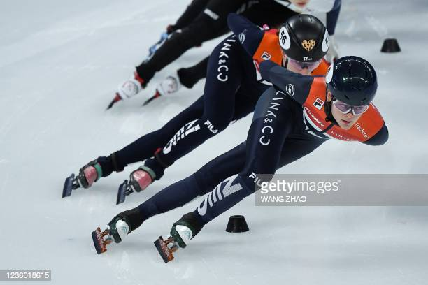 The Netherlands's Xandra Velzeboer competes in the women's 1500m quarter-finals during the 2021/2022 ISU World Cup short track speed skating, part of...