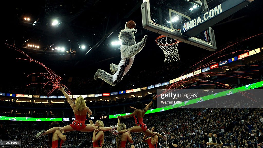The Nets mascot makes a massive junk during an interval of the NBA match between New Jersey Nets and the Toronto Raptors at the O2 Arena on March 4, 2011 in London, England.