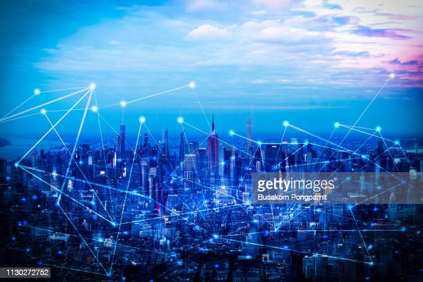 the network and technology of city in new york,usa - wireless technology stock pictures, royalty-free photos & images
