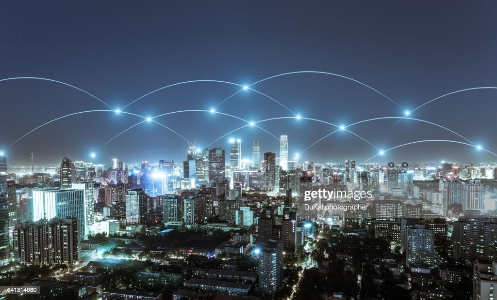 The network of city building in beijing cbd : Stock Photo
