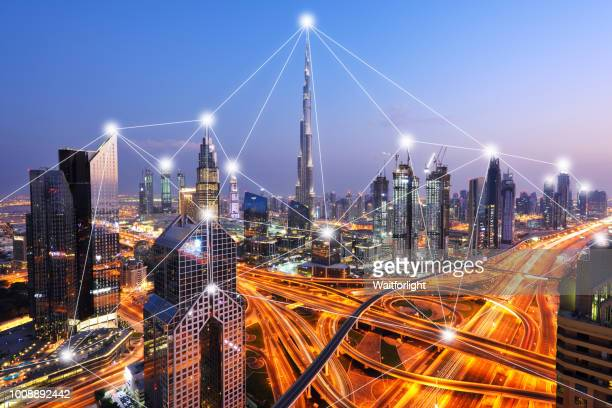 the network of city in dubai,uae - big data city stock pictures, royalty-free photos & images