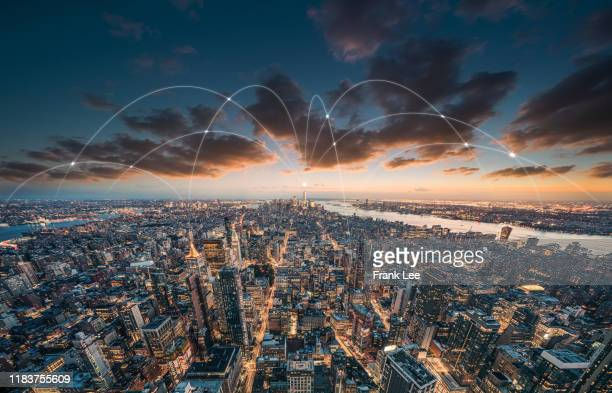 the network of city in new york - computer equipment stock pictures, royalty-free photos & images
