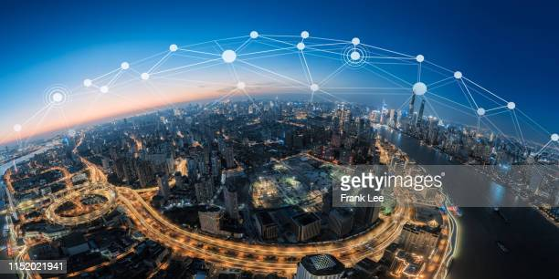 the network of city in shanghai - big data city stock pictures, royalty-free photos & images