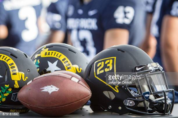 The Nevada Wolf Pack showed off new matte black helmets for todays game against the UNLV Rebels at Mackay Stadium on November 25 2017 in Reno Nevada