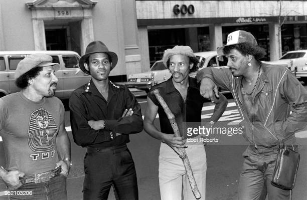 The Neville Brothers in New York City on August 10, 1981. Art Neville, Cyril Neville, Charles Neville, and Aaron Neville.