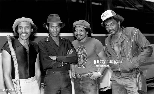The Neville Brothers in New York City on August 10, 1981. Charles Neville, Cyril Neville, Art Neville, and Aaron Neville.