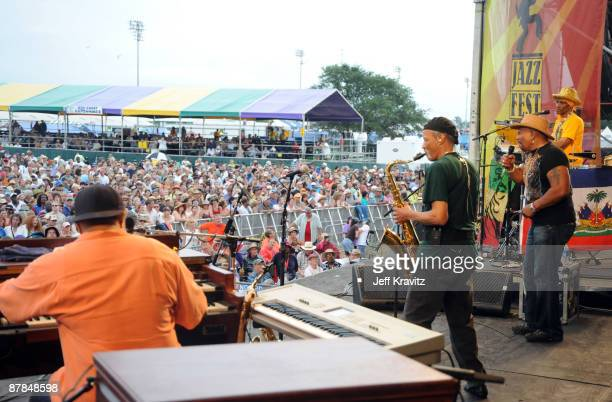The Neville Brothers perform during the 40th Annual New Orleans Jazz & Heritage Festival Presented by Shell at the Fair Grounds Race Course on May 3,...