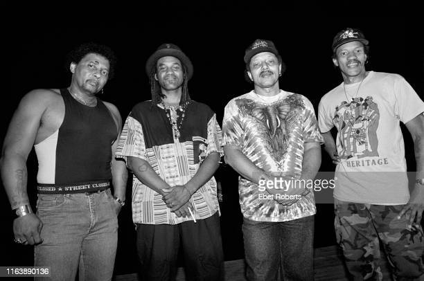 The Neville Brothers photographed at the Jones Beach Theater in Wantagh, NY on August 30, 1990. Aaron Neville, Cyril Neville, Art Neville , and...