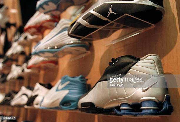 The new $15000 men''s Nike Shox basketball shoe a hard to find and potential hot holiday item is displayed at a Finish Line sporting goods store...