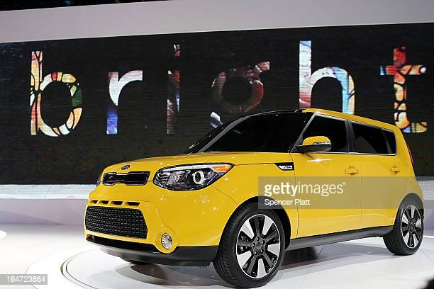 The new 2014 Kia Soul is displayed at the 2013 New York International Auto Show on March 27 2013 in New York City The New York Auto Show will open to...