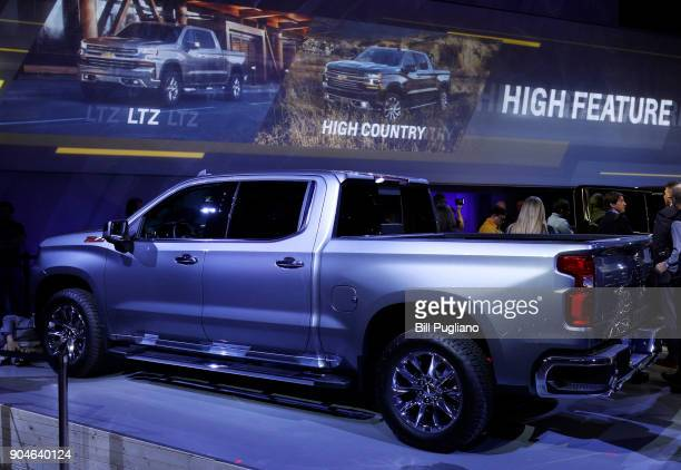 The new 2019 Chevrolet Silverado 1500 makes its official debut at the 2018 North American International Auto Show January 13 2018 in Detroit Michigan...