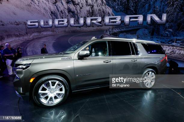 The new 2021 Chevrolet Suburban High Country is shown on stage after it was revealed by General Motors at Little Caesars Arena on December 10, 2019...