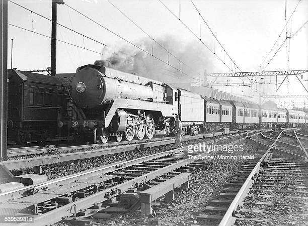 The new 38 Class Locomotive makes a test run as the passenger express to Newcastle on 23 February 1943 SMH Picture EC BOWEN