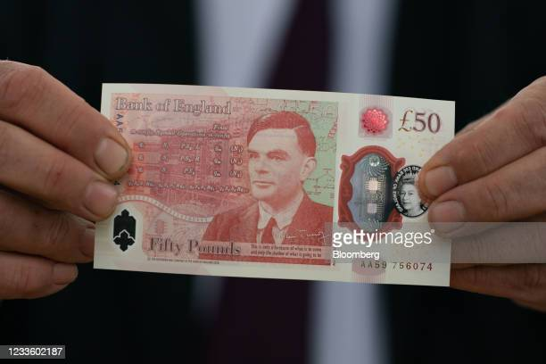 The new 50-pound banknote, featuring an image of World War II code breakerAlan Turing, at Bletchley Park in Bletchley, U.K., on Monday, June 21,...