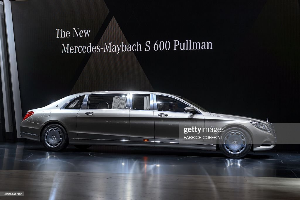 the new 6.5 meter long mercedes-maybach s 600 pullman is displayed