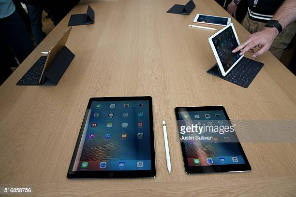 The new 97' iPad Pro is displayed during an Apple special event at the Apple headquarters on March 21 2016 in Cupertino California Apple CEO...