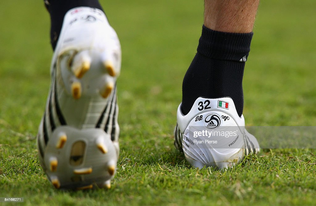 The new Adidas boots of David Beckham of AC Milan are seen during a training session during the AC Milan Winter Training Camp at the Al Nasr Sports Club on January 4, 2009 in Dubai, United Arab Emirates.