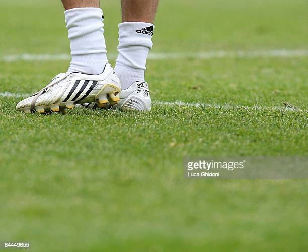 The new Adidas boots of David Beckham of Milan are seen during the Serie A football match between FC Bologna and AC Milan at the Dall'Ara stadium on...