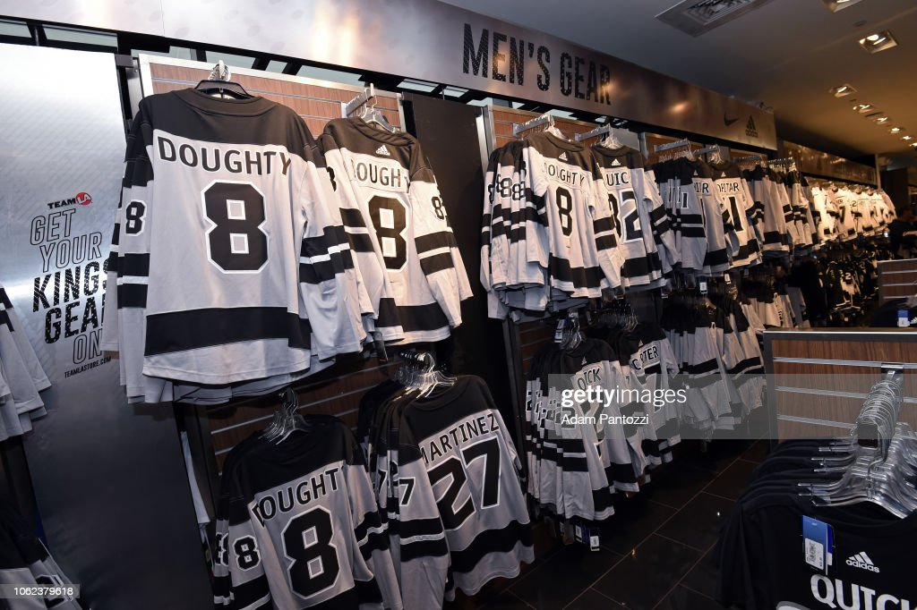 quality design 8dd43 f9a0b The new Adidas LA Kings Silver Jerseys are seen at STAPLES ...