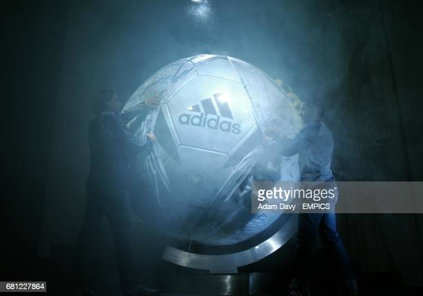 The new Adidas Roteiro football for Euro 2004 is unveiled by Portugal players Nuno Gomes and Simao Sabrosa