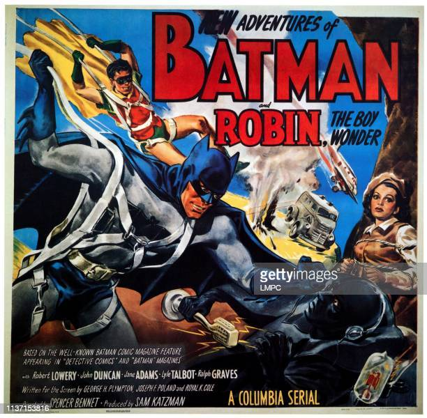 The New Adventures Of Batman & Robin, poster, from left: Johnny Duncan, Robert Lowery, Jane Adams, 1949.