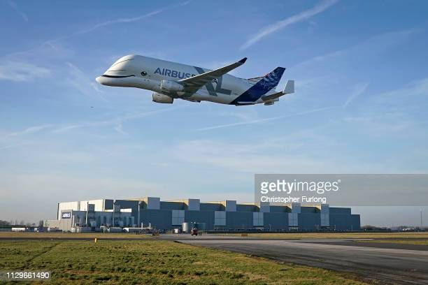 The new Airbus Beluga XL comes in to land at the Broughton wing assembly plant of Airbus on February 14 2019 in Broughton Wales Airbus has also...