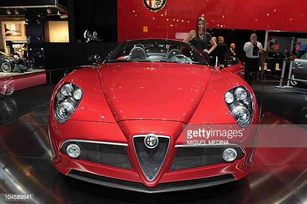 The new Alfa Romeo 8C Spider is presented at the Paris Auto Show on the last press day October 01st 2010 The show will open to the public on October...