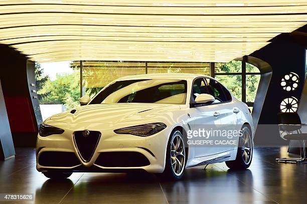 The new Alfa Romeo car called 'Giulia' constructed by ItalianAmerican multinational automobile manufacturer Fiat Chrysler Automobiles is presented to...