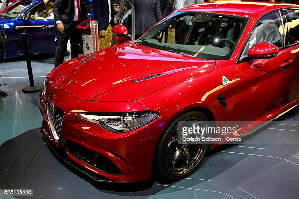 The new Alfa Romeo Giulia on display during the 66 Internationale AutomobilAusstellung 2015 in Frankfurt am Main Germany on September 16 2015