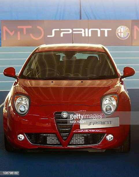 The new Alfa Romeo MiTo Sprint Special Edition is presented during it's launch in North London's Lee Valley Athletics track on February 3 2011 AFP...