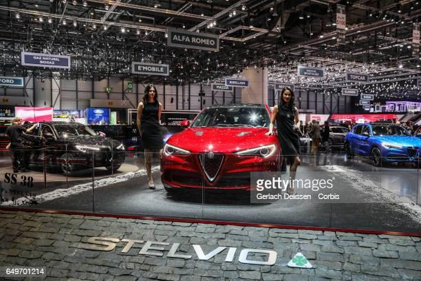 The new Alfa Romeo Stelvio Quadrofoglio on display during the second press day of the Geneva Motor Show 2017 at the Geneva Palexpo on March 8 2017 in...