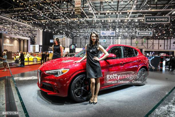 The new Alfa Romeo Stelvio Quadrofoglio on display during the second press day of the Geneva Motor Show 2017 at the Geneva Palexpo on March 8 2017 in...