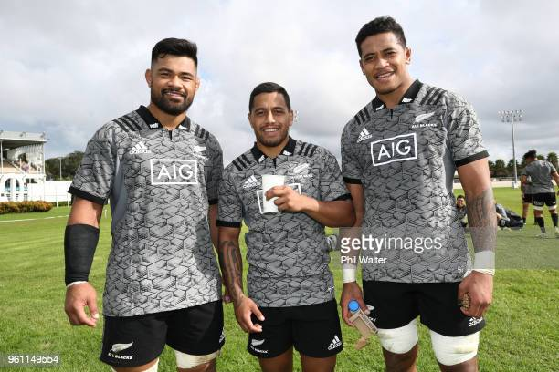 The new All Black caps Jordan Taufua Te Toiroa Tahuriorangi and Shannon Frizell during a New Zealand All Blacks training session at Auckland Blues HQ...