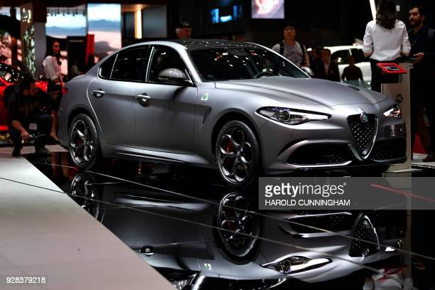 The new Alpha Romeo Giulia Quadrifoglio Nring is displayed at the Italian carmaker's booth during a press day ahead of the Geneva International Motor...