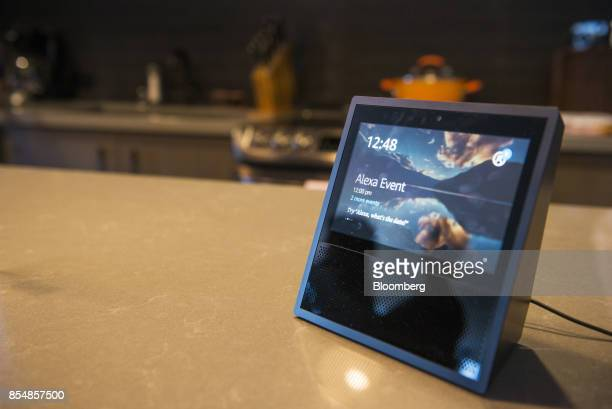 The new Amazoncom Inc Echo Show device sits on display during the company's product reveal launch event in downtown Seattle Washington US on...
