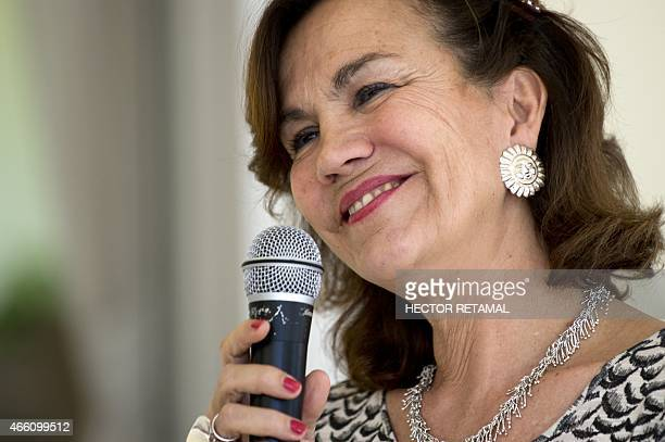 The new Ambassador of France in Haiti Elisabeth Beton Delègue gives a press conference to the media in PortauPrince on March 13 2015 AFP PHOTO/HECTOR...