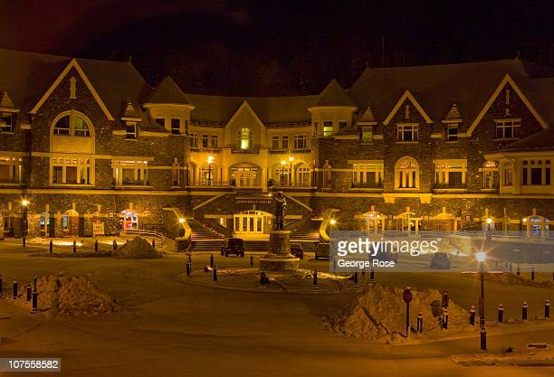 The new annex at the Fairmont Banff Springs Hotel is viewed after dark on November 22 2010 in Banff Springs Canada The famed hotel built by the...