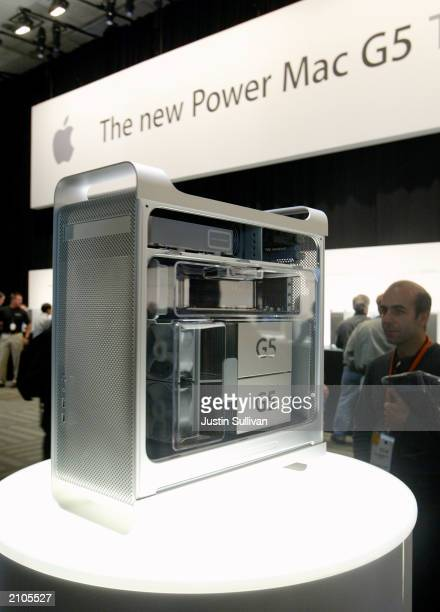 The new Apple G5 Power Mac is seen on display at the Worldwide Developers Conference June 23 2003 in San Francisco Apple CEO Steve Jobs announced the...
