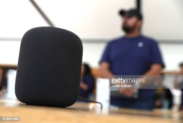 The new Apple HomePod is displayed at an Apple Store on February 9 2018 in San Francisco California Apple's new HomePod went on sale today at Apple...